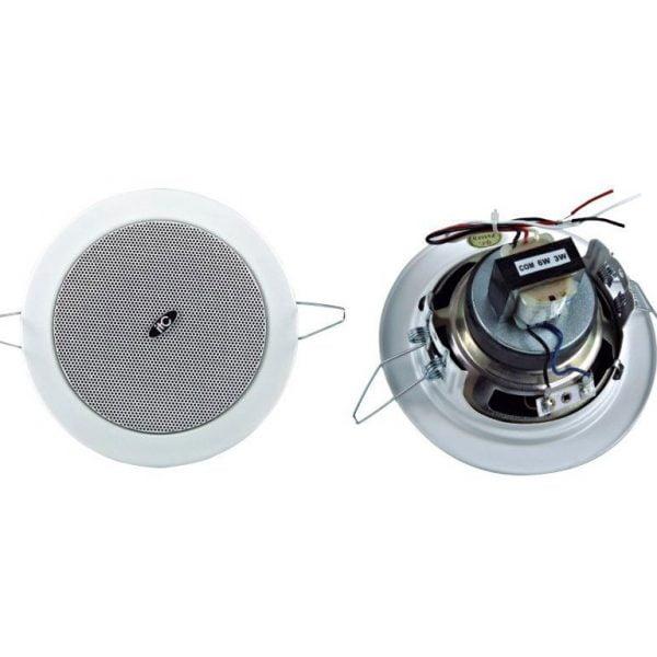 "T-104G 4"" Ceiling speaker, 3W-6W, 100V, cutout 110mm, metal baffle & grille"