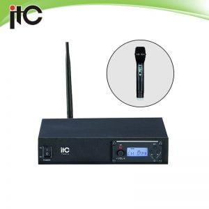 ITC T-531B UHF single channel wireless microphone with segment LCD display, 1 lapel mic